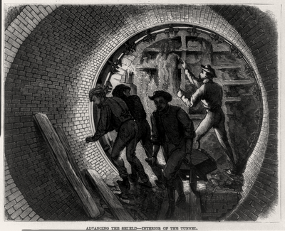 Advancing the shield - interior of the tunnel-inkbluesky