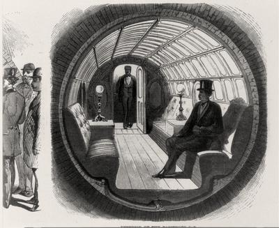 Interior of the passenger car-inkbluesky