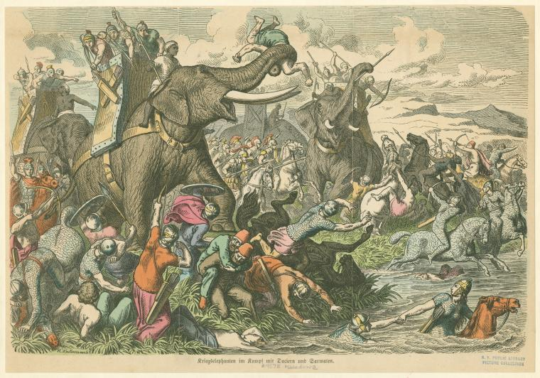 War elephants in battle with Dacians and Sarmatians