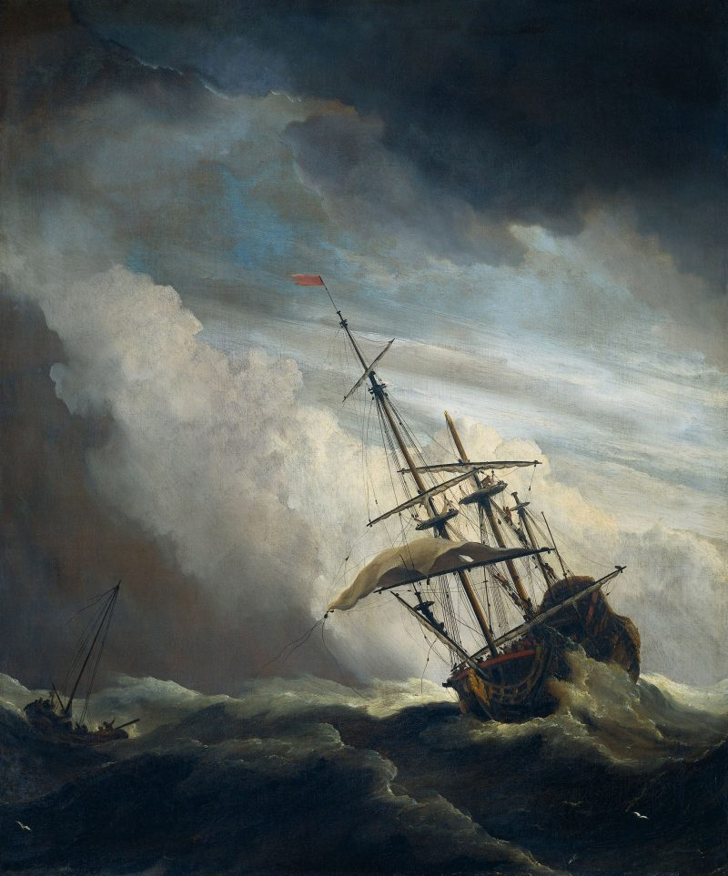De_Windstoot-A_ship_in_need_in_a_raging_storm-Willem_van_de_Velde_II-1707-DCedit2