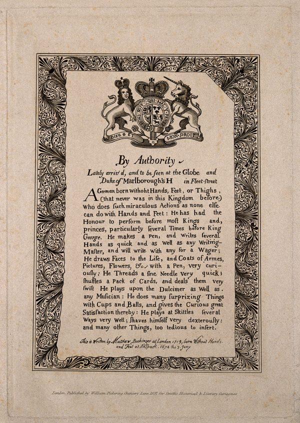 A notice advertising himself by Matthias Buchinger