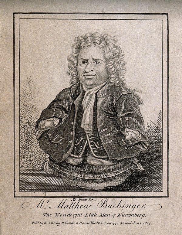 V0007016ER Matthias Buchinger, a phocomelic. Etching by G. Scott, 1804.