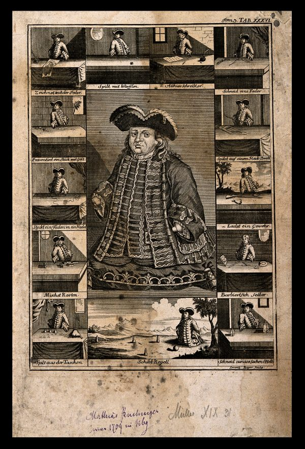 V0007014 Matthias Buchinger, a phocomelic, with thirteen scenes repre