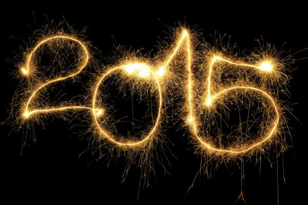 New Year 2015 formed from sparking digits over black background