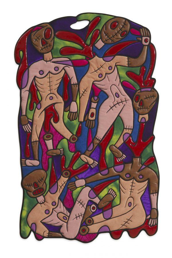 Pablo Echaurren, Mutilati ignavi (Dante's Inferno Canto XXVIII), 2004, tarsia di panni e plastiche imbottite eseguita da Marta Pederzoli, 113x66 cm. Courtesy MIAAO.